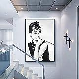 Arte de la pared de la lona 60x90cm Sin marco Audrey Hepburn Maquillaje clásico Potrait Cartel moderno Impresiones Pintura Arte Imagen de la pared para la decoración de la sala de estar del hogar