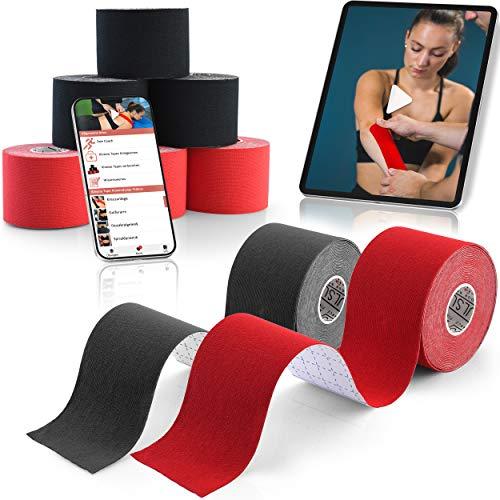 Kinesiotapes mit Videoanleitungs-App [5m x 5cm] im 6er Set | Elastische & Wasserfeste Kinesiologie Tapes | Physio Tape Kinesio Tape Set (Rot & Schwarz)