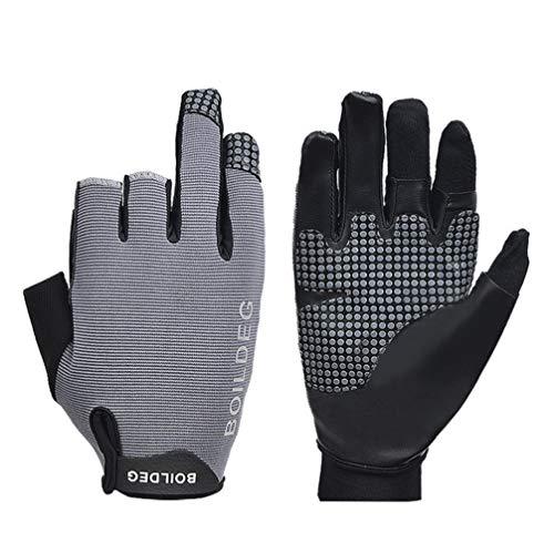 Milisten 1 Paar Angelhandschuhe Anti-Rutsch-Handschuhe Professionelle Reflektierende Handschuhe 3 Finger Geschnittene Schutzhandschuhe für Das Angeln im Freien Segeln Kajak Größe M (Grau)