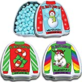 3 Christmas Candy Flavors in Ugly Sweater Shaped Tins - Wintergreen, Peppermint, Blueberry Flavors, Holiday Characters. Edible Stocking Stuffers, White Elephant Idea, Gift Exchange, St Nicks Candy Co