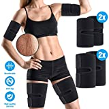 OUTERDO Arm and Thigh Trimmers for Women & Men(4 Piece Kit) Body Exercise Wraps Adjustable to Lose Fat Reduce Cellulite and Improve Sweating, Slimmer Kit-Toned Muscles Natural Fat Burning