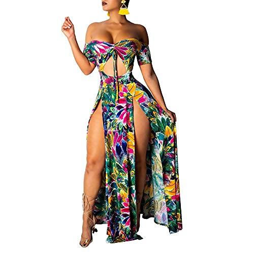 QUNLIANYI Vestido Largo de Verano para Mujer Vestido Largo Informal con Estampado de Hombros Descubiertos Vestido de Playa para Mujer Vestido de Fiesta Elegante con Cuello en V XL Blanco