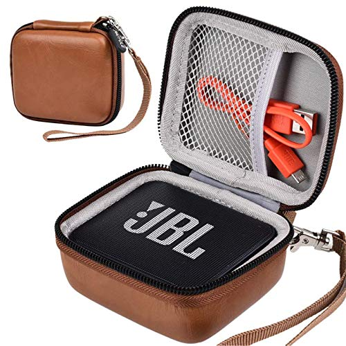 Case Compatible for JBL GO 2/ JBL GO Portable Bluetooth Waterproof Speaker, Travel Storage Bag Holder Fits for USB Cable and Charger. (Speaker and Accessories not Includes)-Brown