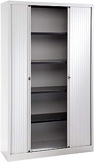 Bisley Armoire à rideaux Euro, largeur 1200 mm, 4 tablettes, gris clair - Armoire Armoire métallique Armoire à rideaux Arm...