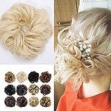 Haarteil Dutt Haargummi Synthetik Haare Extensions Gewellt günstig Haarverlängerung für Haarknoten Gummiband Hochsteckfrisuren Haarband Blond