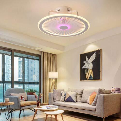 Ventilador de techo redondo LED de 32 W, mando a distancia, luz diurna, para baño, salón, despacho, pasillo, cocina, dormitorio