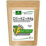 MoriVeda® 100% vegetal vitamina D3 + K2 + Mg cápsulas I D3 (7000 I.E) Depósito I K2 MK7 All-Trans (200μg) I Magnesio como activador I Suministro para 90 semanas I Vegano I 90 cápsulas
