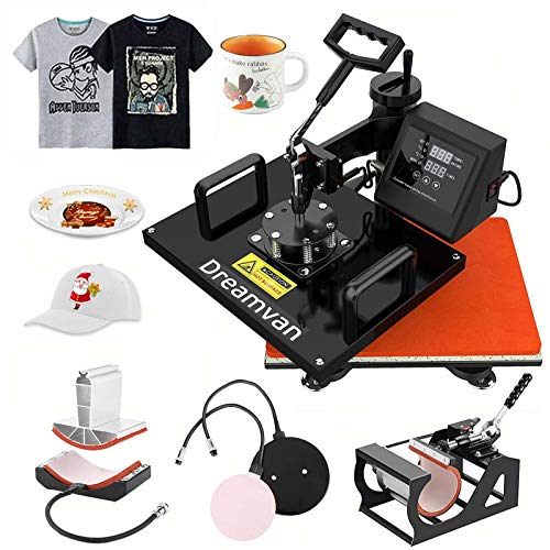 "5 in 1 Heat Press Machine, 12X15""Combo Digital Transfer Sublimation Machine for t Shirts, 360° Multifunctional Swing Away Tshirt Press Machine, Easy Press - Presser for T-Shirts Mug Hat/Cap Plate"