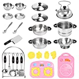 TekkPerry 27 Pcs Kids Kitchen Pretend Play Toys, Small Stainless Steel Kitchen Cookware Kits Toys, Cooking Toys Play Pots and Pans Set with Cutting Board and Utensils Acces for Toddlers Girls Boys
