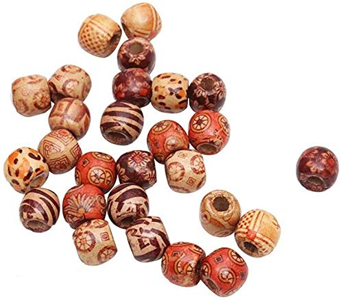 LQXZJ-DIY handicrafts 200 PCS Mixed Round Wooden Beads for Jewelry Making Loose Spacer Charms Pendant Findingss (Color : 200PCS, Size : 17MM)