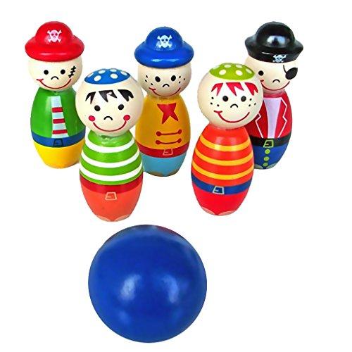 Gazechimp Mini Jeu De Bowling Enfant Développement Jouet Bois Multicolore Famille Cadeau