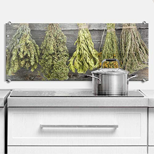 XXL Glasbild Wandspritzschutz Herd Spritzschutz Pfannen Küchen Rückenwand Kräuter mit Klemmbefestigung Edelstahl (100 x 40 cm, Getrocknete Kräuter)