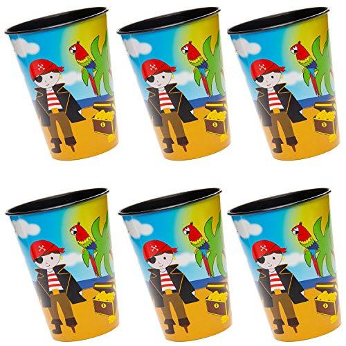 cama24com Piraten Party Kunststoffbecher 6 Stück Kindergeburtstag Mitgebsel Tischdeko mit Palandi® Sticker
