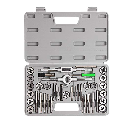 SharCreatives 40 Piece SAE Threading Tap & Die Tool Set Coarse and Fine Threads for Threading and Re-threading with Accessories and Storage Case