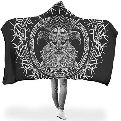 Tentenentent Manta de peluche con capucha, tamaño grande, estilo vikingo, nórdico, tamaño grande, 150 x 200 cm, color blanco