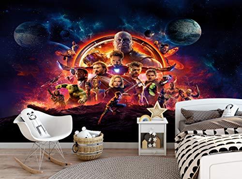 Carta da parati Avengers, carta da parati fotografica Infinity War, decorazione da parete, decorazione da parete (366 x 254 cm) poster di carta gigante adolescenti, bambini, stanza dei ragazzi