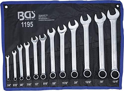 BGS 1195 | Maul-Ringschlüssel-Satz | 12-tlg | Zollgrößen | SW 1/4