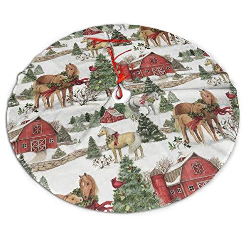Weihnachtsbaumdecke, 121,9 cm, roter Kranz, weißes Pferd, Schnee-Muster, große Baummatte, Basisabdeckung für Weihnachten, festliche Feiertage, Party, Dekoration, Ornamente
