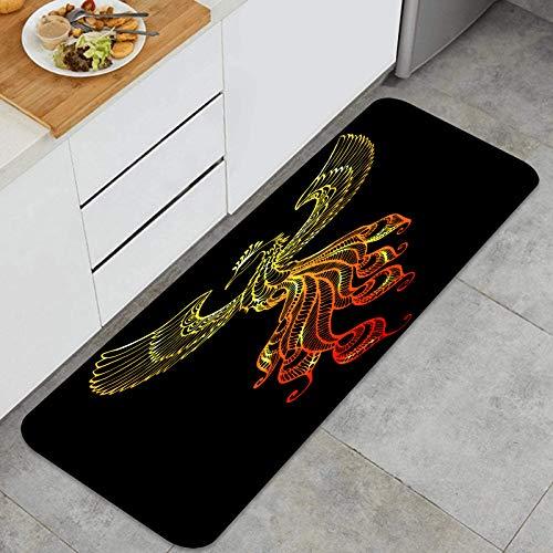 YANAIX Juegos de alfombras de Cocina Multiusos,Ave fénix Emblema Dibujado Estilo Tatuaje,Alfombrillas cómodas para Uso en el Piso de Cocina súper absorbentes y Antideslizantes