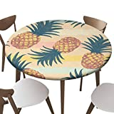 """SfeatrutMAT Indoor Outdoor Polyester Fitted Tablecloth Cover Flannel Backed Lining Stretched to Fits up 45""""-56"""" Diameter Tables Hand Drawn Pattern with Pineapple in Vector"""