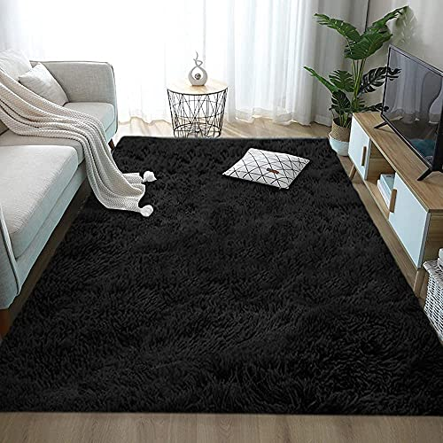 Aujelly Tapis de luxe Shaggy carré doux en fausse fourrure pour intérieur Tapis moelleux et résistant pour une belle chambre d'enfant ou salon Noir 200 x 300 cm