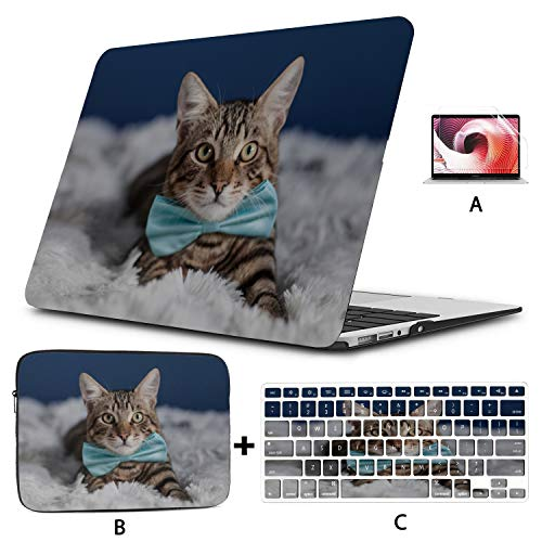 MacBook Accessories Case Tie Ribbon Cute Funny Cat MacBook Protective Case Hard Shell Mac Air 11'/13' Pro 13'/15'/16' with Notebook Sleeve Bag for MacBook 2008-2020 Version