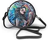 Bolso redondo mujer Women's Summer Round Bag Goth Gothic Girl Lace Love LGBT Lesbian Pride Fashion Crossbody Shoulder Handbag Sling Purse Sling Bag