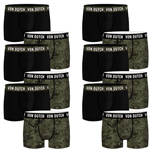 Von Dutch 12er Pack Basic Boxer Boxershorts Herren Unterwäsche VD1BCX2CAM, Farbe:Camo Green, Bekleidungsgröße:L