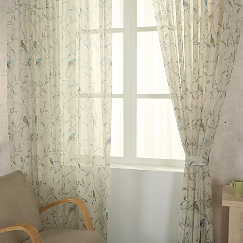 pureaqu Kids Room Floral and Birds Print Home Design Rod Pocket Sheer Curtains Drapes for Living ROM Bedroom Kitchen Window Elegant Voile Sheer Panels Treatment 1 Panel W52 H84 Inch