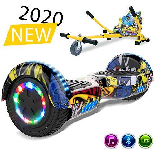 SOUTHERN-WOLF Self-Balancing Scooter, Elektro Scooter 6,5zoll Hover Scooter Board Bluetooth Scooter mit bunten Lichter Bluetooth eingebaute Geschenk für z29 (Hip-hop)