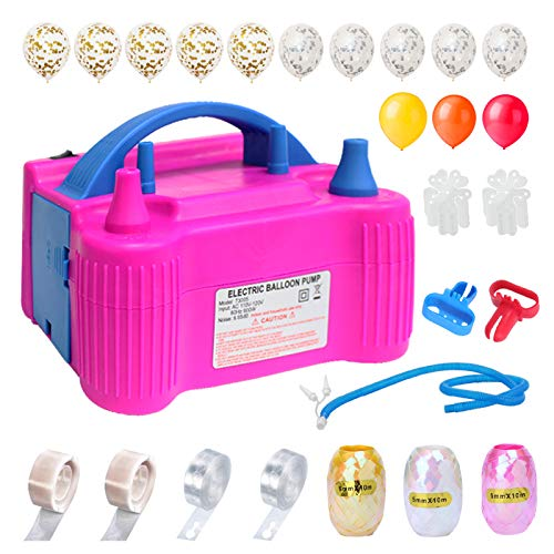 YIDIE Electric Portable Balloons Pump Dual Nozzle with Colored Ribbon and 70 PCS Balloons