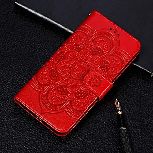Fulvit para Mandala Funda de Cuero Horizontal Flip Flip para iPhone 11 Pro, con Soporte y tragamonedas de Tarjetas y Billetera y Marco de Fotos y cordón (Oro Rosa) Casos antiedad (Color : Red)
