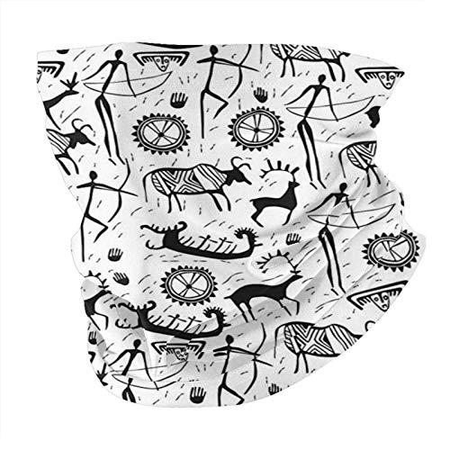 N/W Outdoor Schal Halstuch Halstuch Gesicht Bandana Schal Kopftuch Tribal Dekor Afrikanisch Primitive Muster mit Kultmaske Tier und Pfeilen Folk Design Schwarz Kopftuch