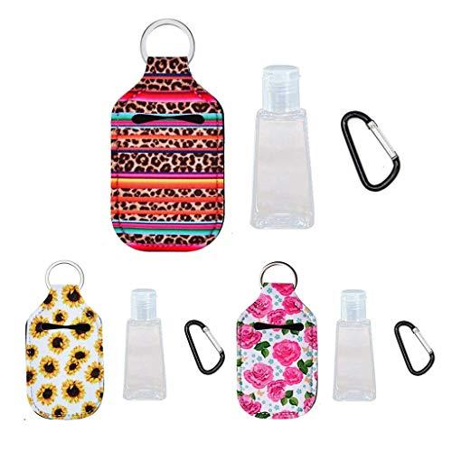 yIFeNG 3 Juegos de desinfectante de Manos, Botellas vacías Recargables con Porta llaveros