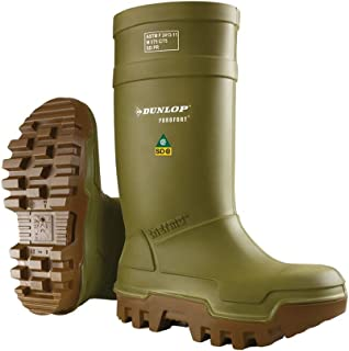 Dunlop E66284311 Purofort Thermo+ Full Safety Omega/EH Cold Protection Boot, Premium Insole, -58°F Cold Insulation, Steel Toe Cap, Green/Brown, Size 11