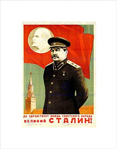 Wee Blue Coo B12X5772 Kunstdruck, Motiv Politische Sowjetunion, Lünin, Stalin, rote Flagge, Schwarz