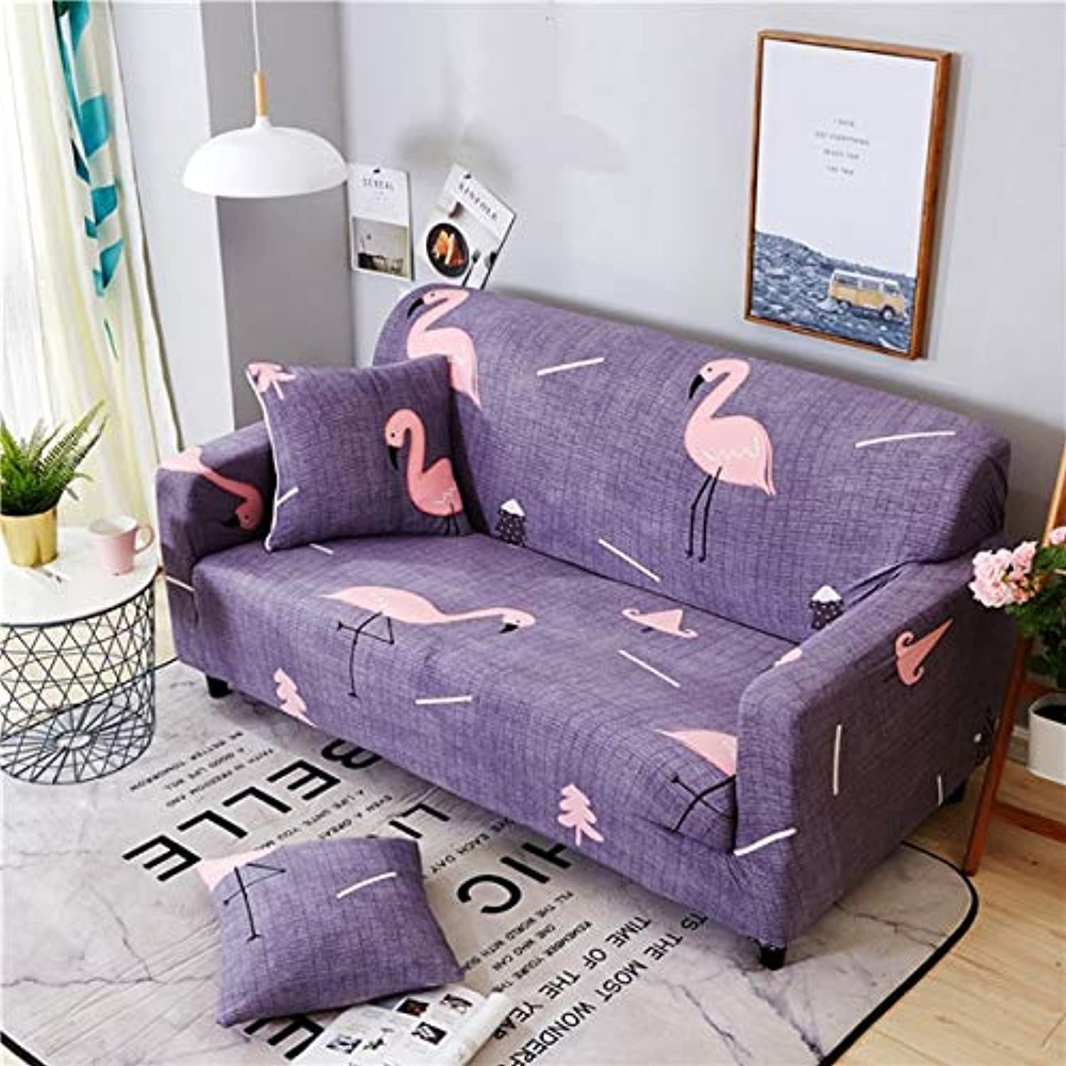 Flamingo Printing Elastic Spandex All-Inclusive Slipcovers Corner Sofa Cover Sectional Sofa Cover Stretch Predective Couch Cover   3, Single Seater