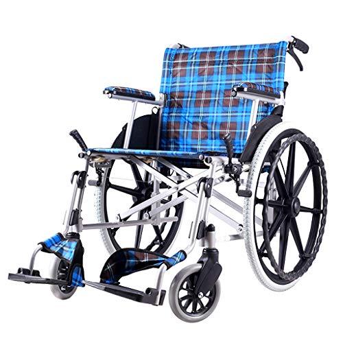 Sillas de ruedas autopropulsadas, profundidad de asiento de 42 cm, silla de viaje de tránsito portátil, reposapiés extraíbles, silla de ruedas plegable ligera para usuarios mayores y discapacitados