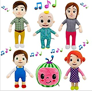 Cocomelon Singing Family Friends Set of 6 Figures Plush Toys, JJ Musical Bedtime Doll Sings for Kids Babies Toddler Educat...