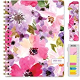 HARDCOVER Academic Year 2020-2021 Planner: (June 2020 Through July 2021) 8.5'x11' Daily Weekly Monthly Planner Yearly Agenda. Bookmark, Pocket Folder and Sticky Note Set (Spring Floral)