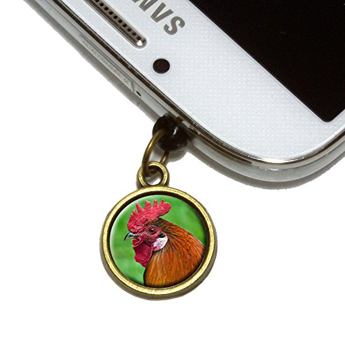 Rooster Cock a Doodle Doo Cell Mobile Phone Jack Charm Universal Fits iPhone Galaxy HTC