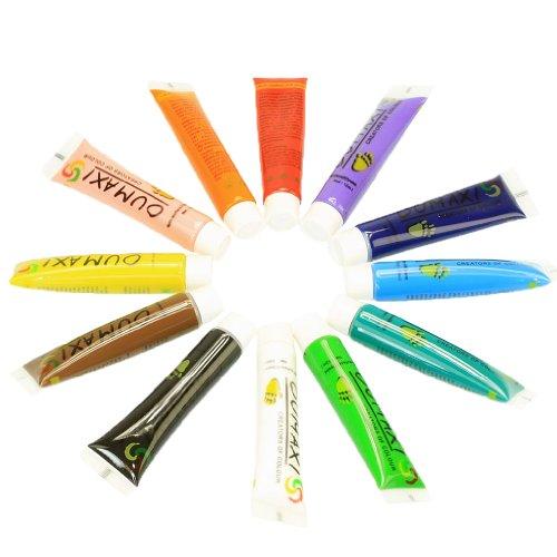 Sandis Set de 12 tubes de peinture acrylique 12 ml - ideale pour le nail art