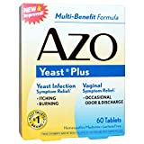 AZO Natural Yeast Symptom Prevention & Relief Tablets, 400 mg, 60-Count Boxes (Pack of 3)