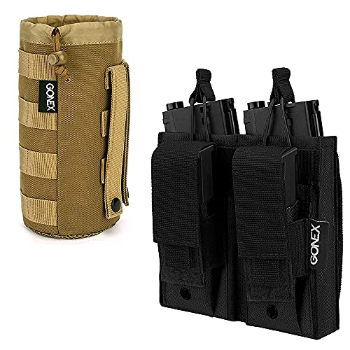 Gonex Tactical Military MOLLE Water Bottle Pouch Tan with Molle Mag Pouch, Double Triple Pistol Magazine Pouch Open Top Tactical Rifle Kangaroo Pouch