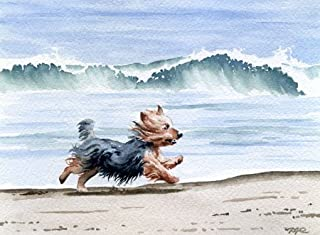 Yorkshire Terrier at the Beach Art Print by Watercolor Artist DJ Rogers