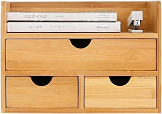 $24 » Homefami 3-Tier Bamboo Shelf Organizer for Desk with Drawers Desktop Storage Box Eliminates Clutter Table Organizer 12.6x8.7x8.3inch US Stock