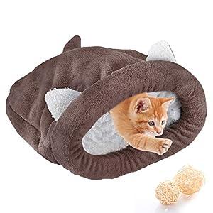 Yuehuam Saco de Dormir para Gatos Cama para Mascotas Suave Y Cálida con Orejas Lindas Y Cola Bolsa de Saco de Gatito Cueva Autocalentable para Cachorros Pequeños