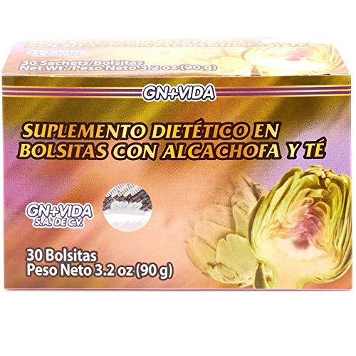 Artichoke Heart Tea, Te Corazon de Alcachofa, 1 Box 30 Tea Bags, Green Tea, Red Tea and White Tea GN+V, 1 Caja 30 sobres