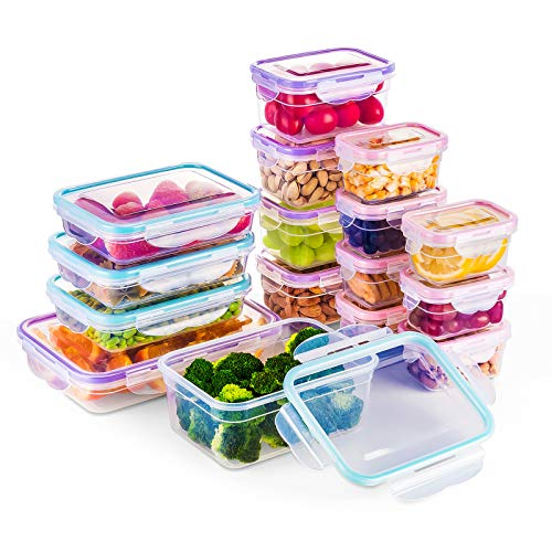 BAYCO [16 Pack] Food Storage Containers with Lids, Plastic Food Containers with Lids, Airtight Storage Container Sets for Healthy Diet, Vegetables, Snack & Fruit, BPA Free & Leakproof