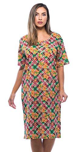 Just Love 4360-10005-S Short Sleeve Nightgown Sleep Dress for Women Sleepwear, Plaid - Gingerbread, Small